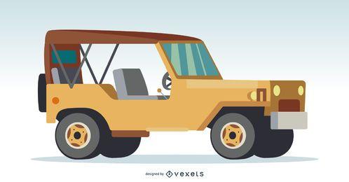 Ilustración todoterreno marrón 4x4.