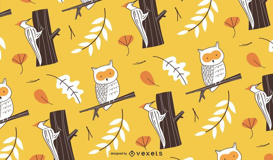 Patrón de pájaros de otoño