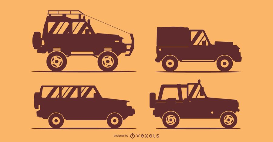 Ilustração de silhuetas de 4 carros