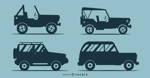 Silhuetas de ilustração de 4 carros