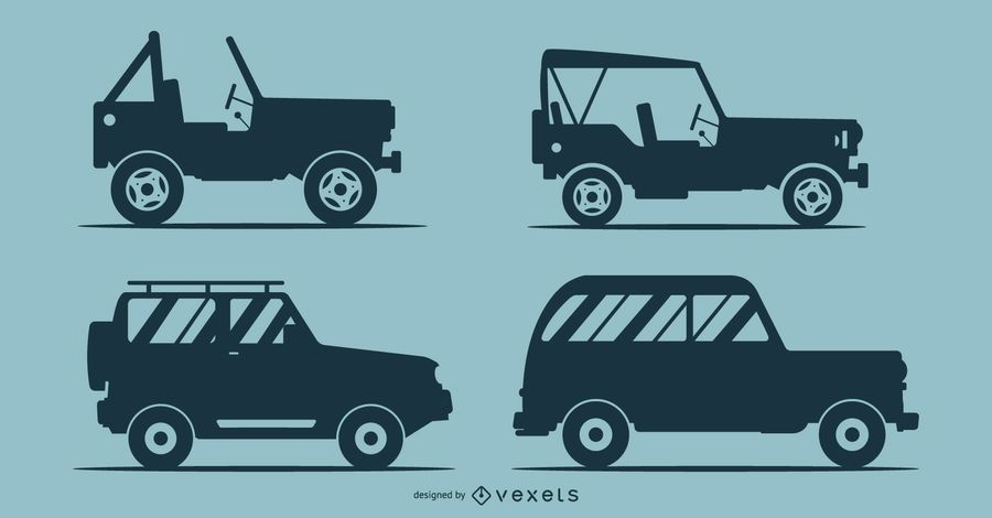 Silhouettes Of 4 Cars Illustration