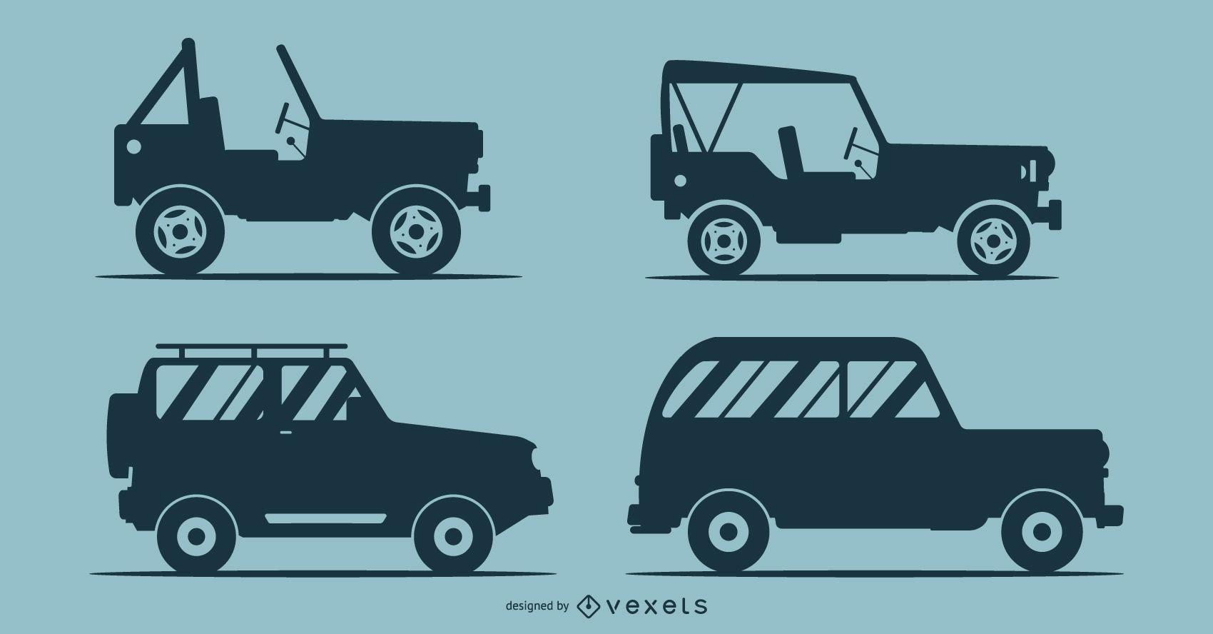 Siluetas de 4 coches ilustración