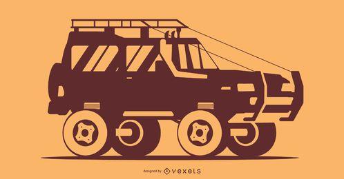 Ilustração da silhueta do carro laranja