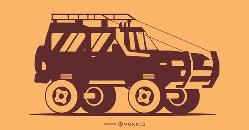 Orange Car Silhouette Illustration