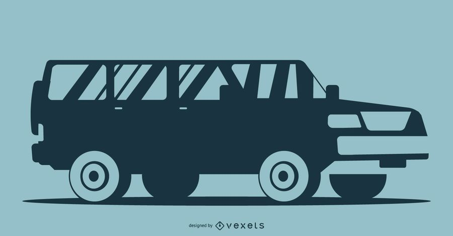 Blue Car Silhouette Illustration