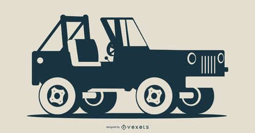 Offene Auto-Schattenbild-Illustration
