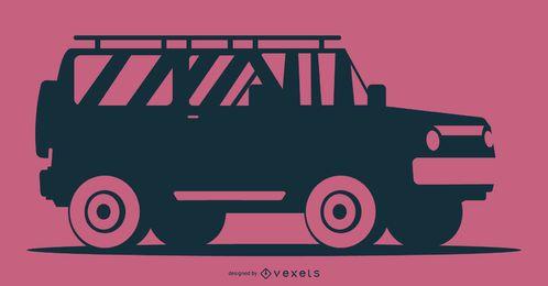 Ilustración de silueta de coche de fondo rosa