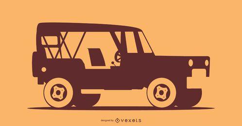 Ilustração da silhueta do carro off-road