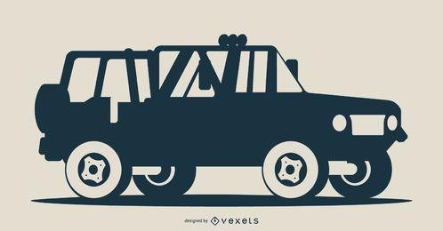 Ilustração de silhueta de veículo azul