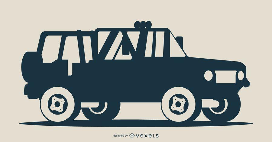 Ilustración de silueta de vehículo azul