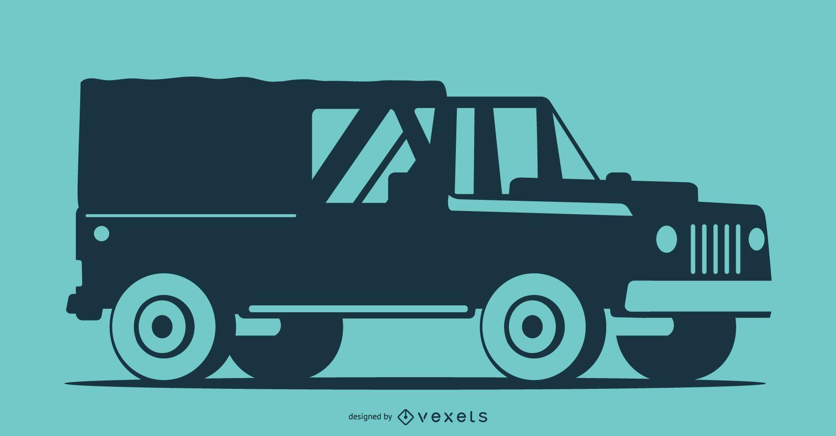 Blue silhouette Pick-Up Truck Illustration