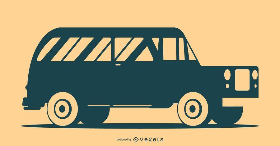 Ilustración de silueta de coche clásico