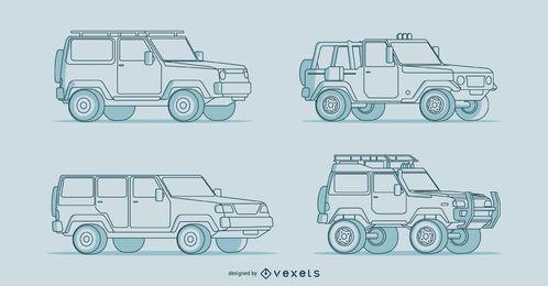 Cuatro ilustraciones detalladas de coches dibujados a mano.