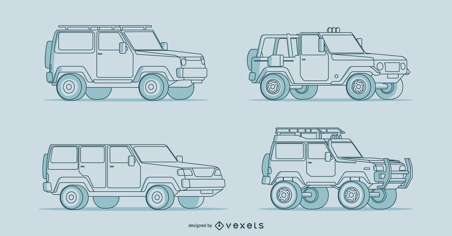 Cuatro ilustraciones detalladas de autos dibujados a mano