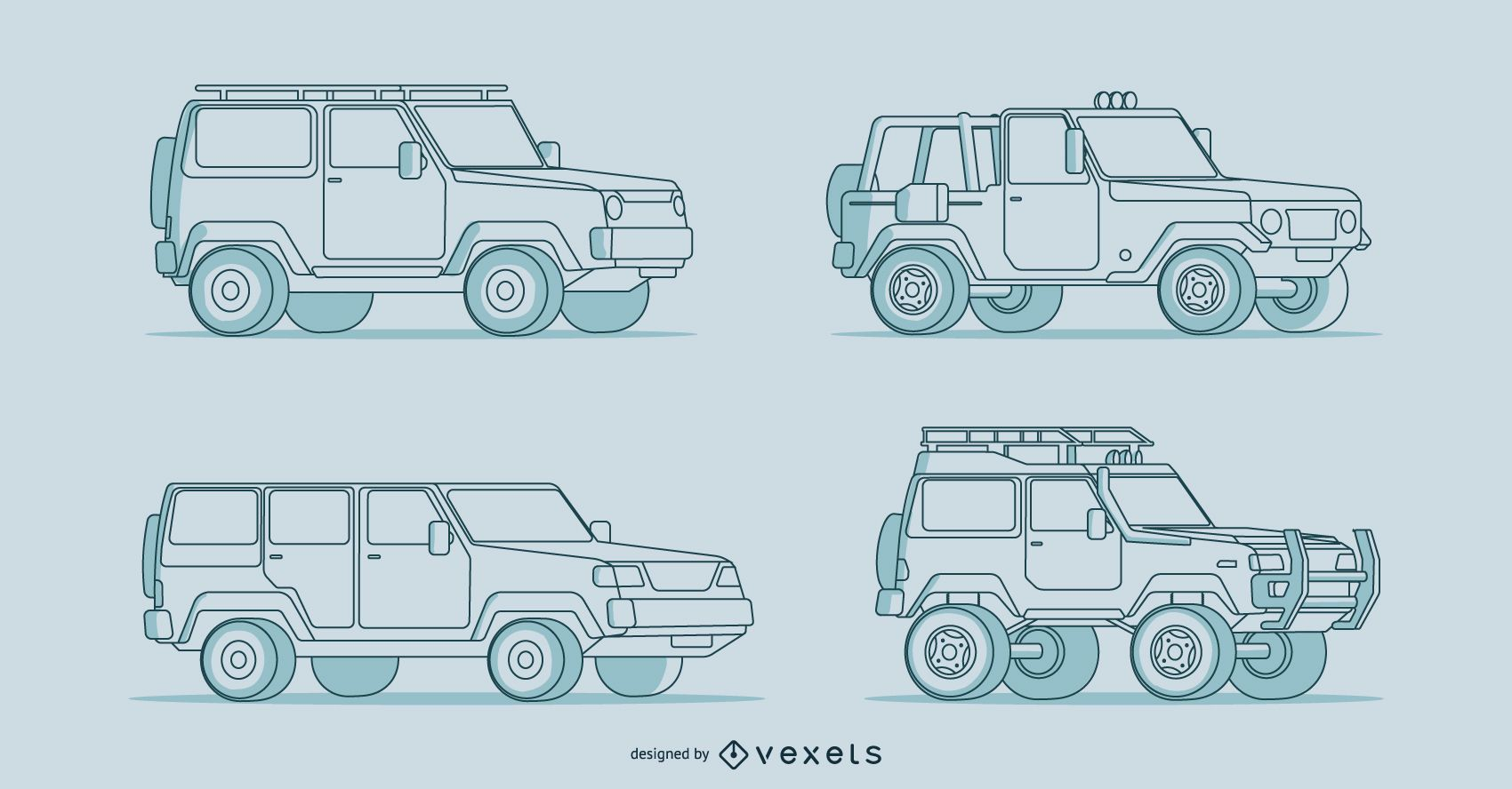 Four detailed hand-drawn car illustrations