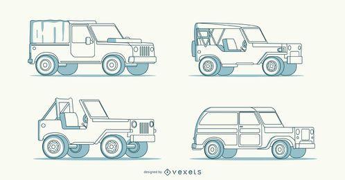 Cuatro intrincadas ilustraciones de coches dibujados a mano.