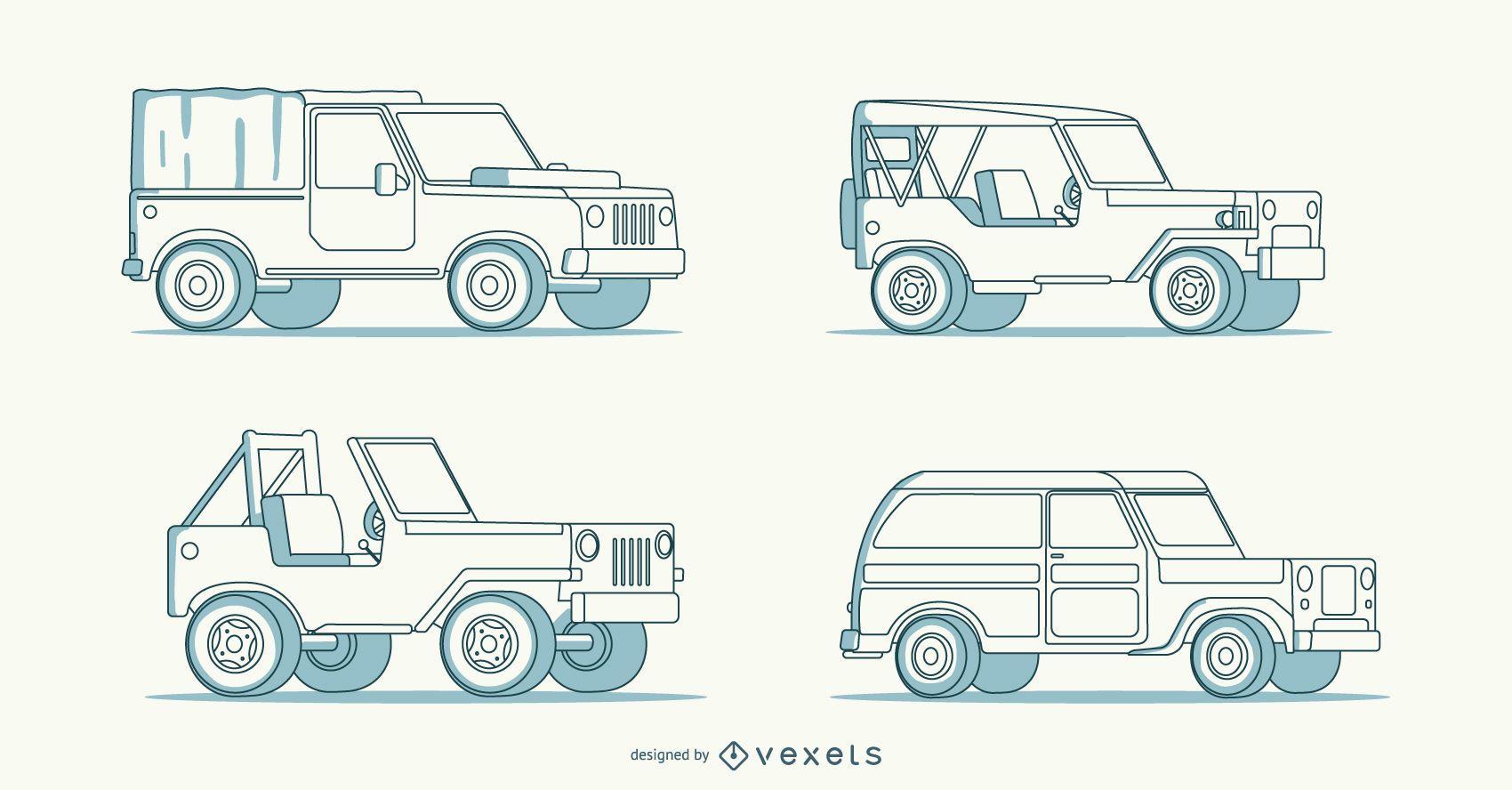 Cuatro intrincadas ilustraciones de coches dibujadas a mano.