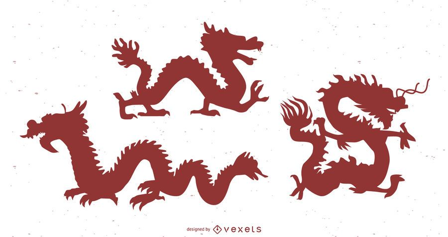 Conjunto de silueta de dragón chino