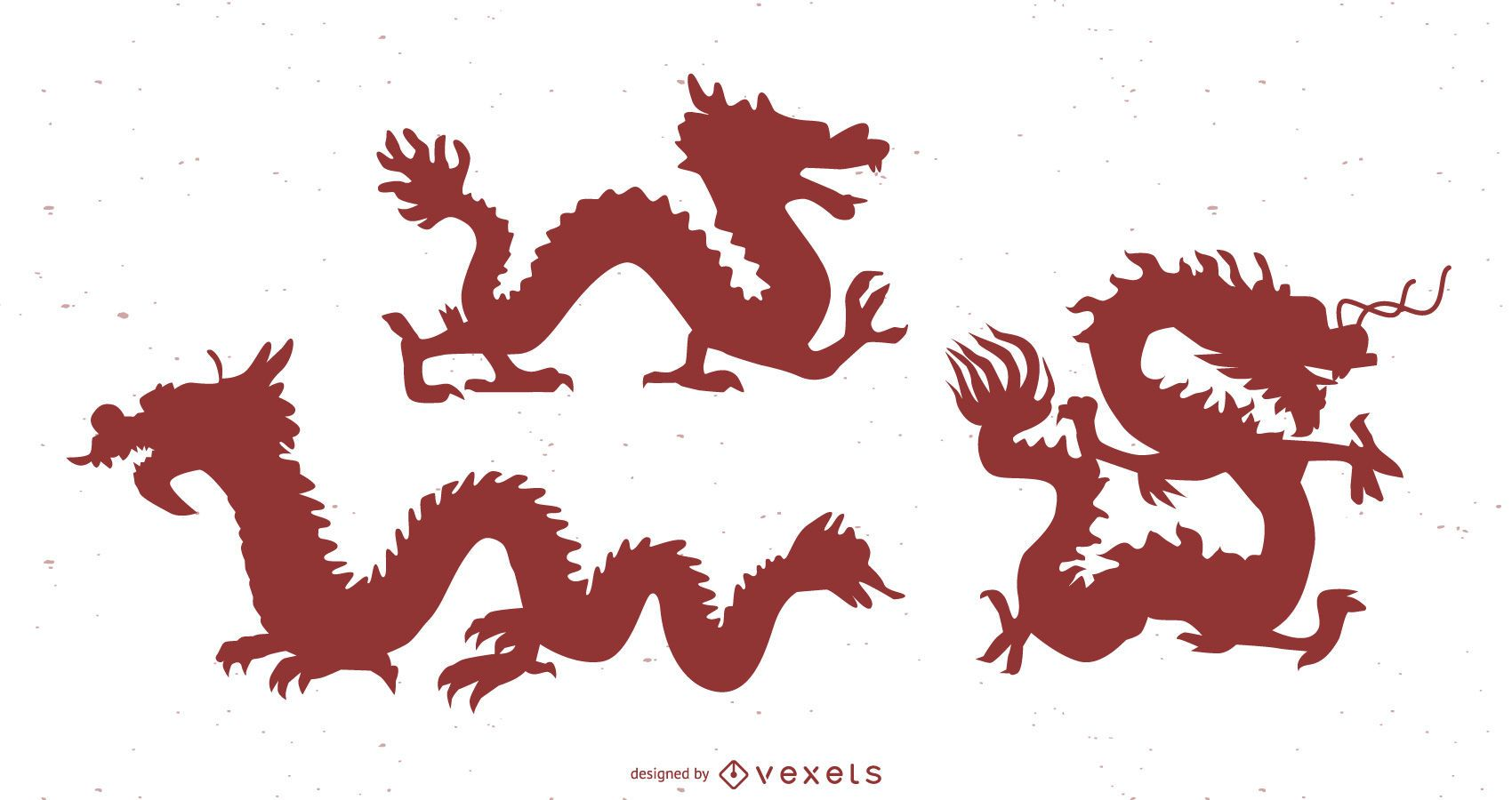 Chinese dragon silhouette set