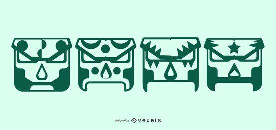 Máscaras geométricas de luchador