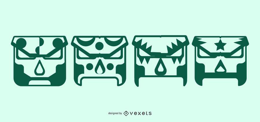 Máscaras geométricas do lutador