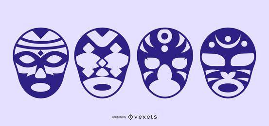 Silhueta extravagante máscaras Vectorli