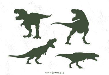 Conjunto de silueta de t-rex