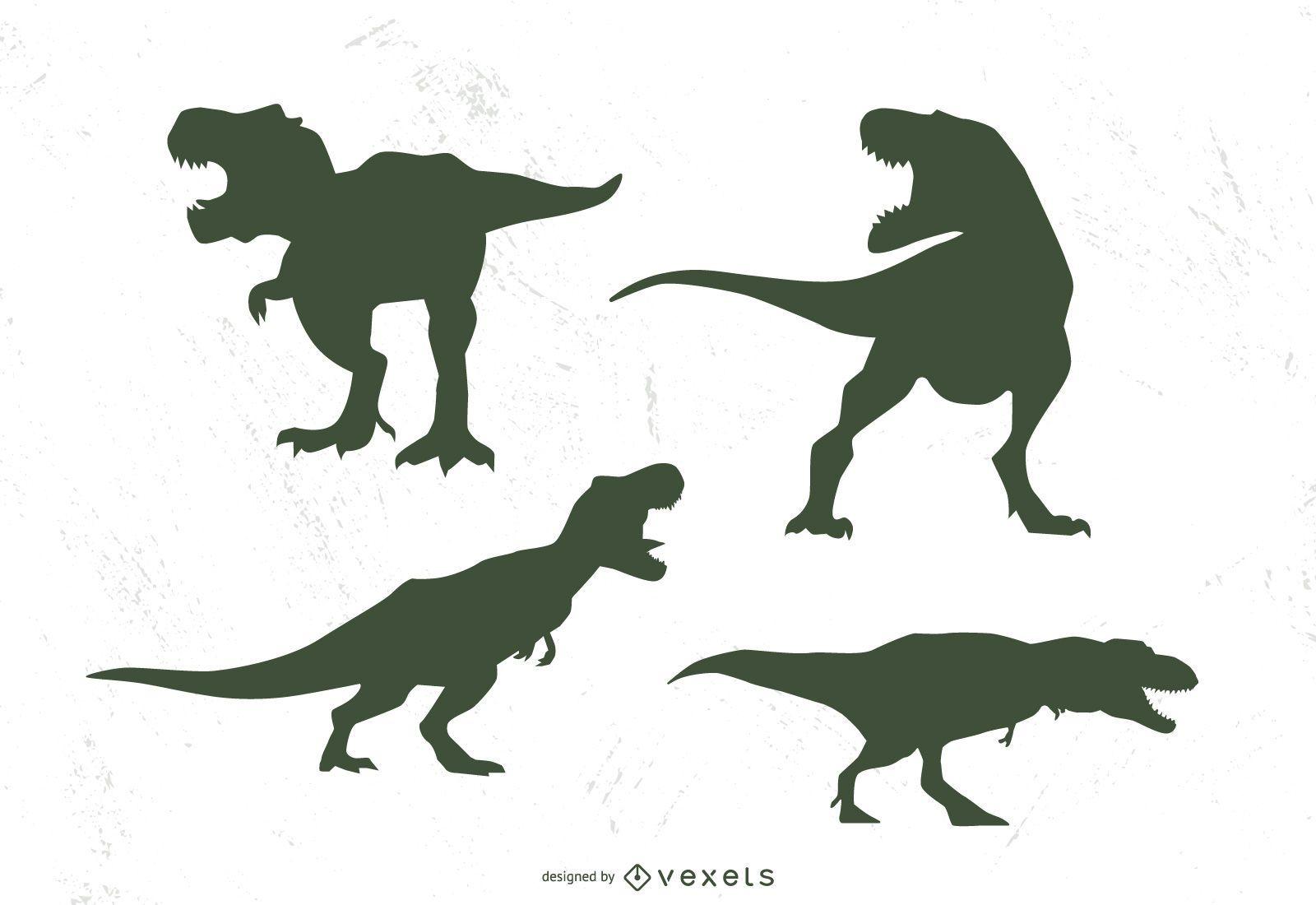 T-rex silhouette set
