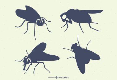 Fliegen-Insekten-Silhouetten
