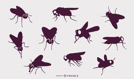 Siluetas de insectos voladores