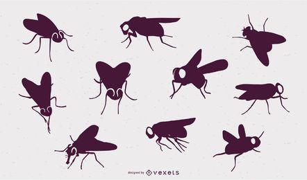 Volar siluetas de insectos