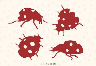 Ladybug silhouettes set