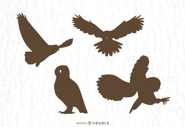 Owl silhouettes vector set