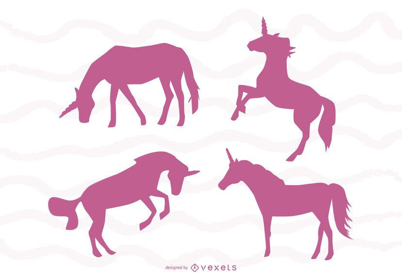 Unicorn silhouettes set