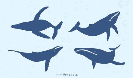 Conjunto de silhueta de baleia plana