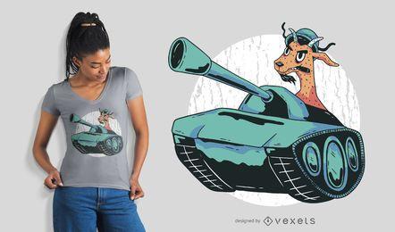 Diseño de camiseta de cabra militar