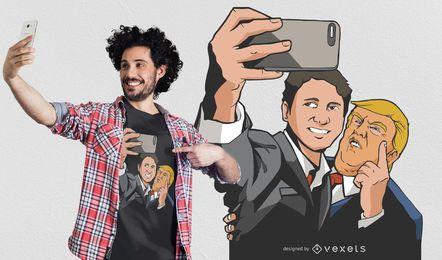 Projeto do t-shirt de TrumpxTrudeau Selfie