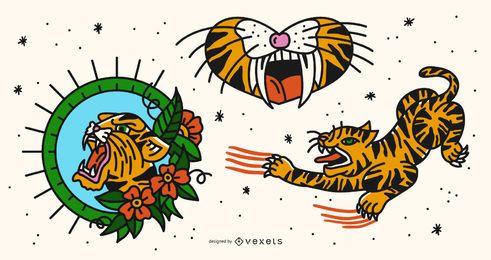 Conjunto de vectores de tatuaje de tigre