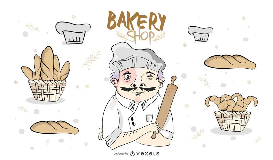 Hand Drawn Bakery Shop Design