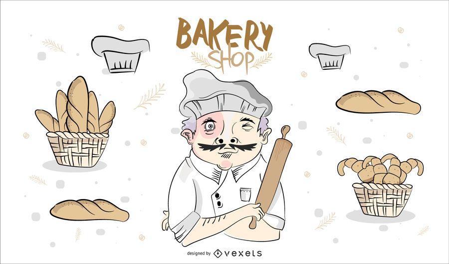 Handgezeichnete Bäckerei Shop Design