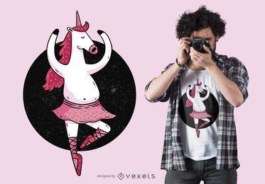 Diseño de camiseta de unicornio de ballet