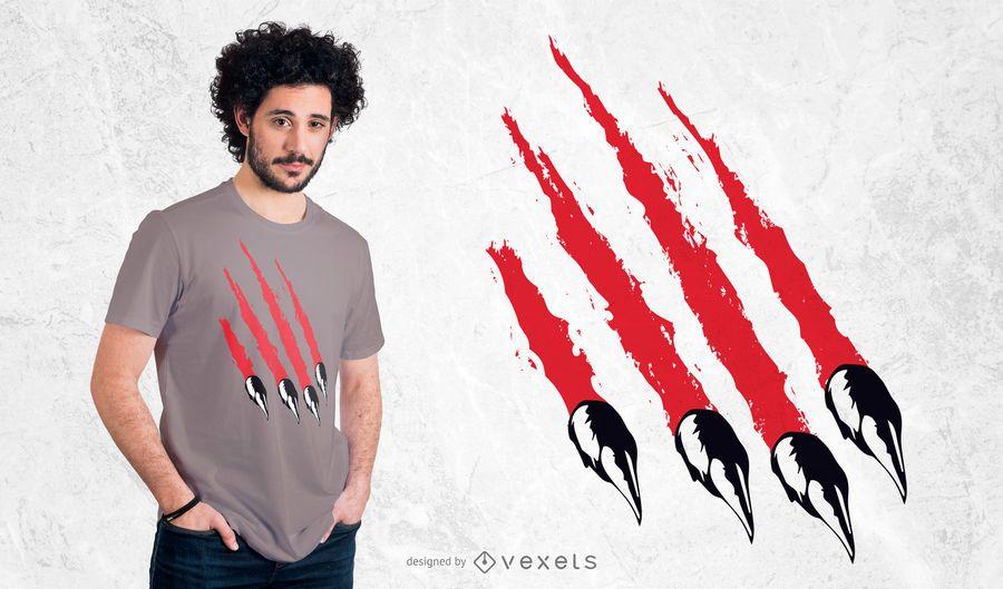 Diseño de camiseta de garra de oso