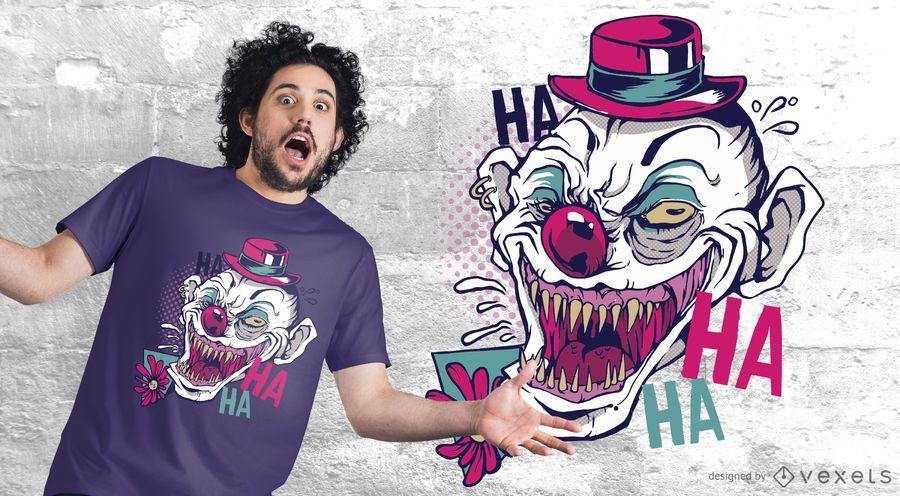 Diseño de camiseta de risa de payaso espeluznante