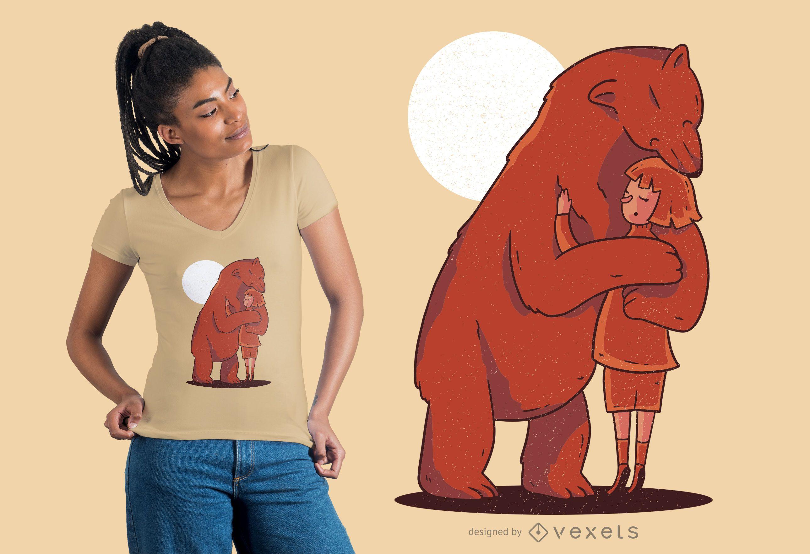 Desenho vetorial de abraço de urso