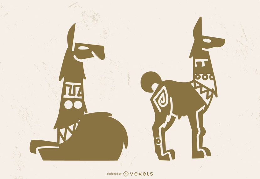 Arte da silhueta do lama de Eygptian