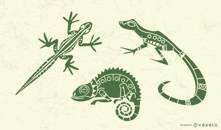 Conjunto de silhueta elegante lagarto