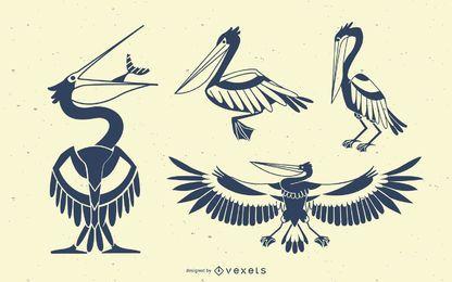 Conjunto de silueta de pájaro de pelícano con estilo
