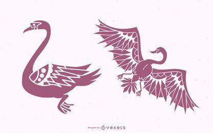 Elegante diseño de silueta de cisne