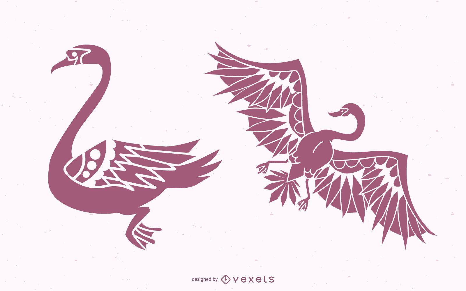 Stylish Swan Silhouette Design