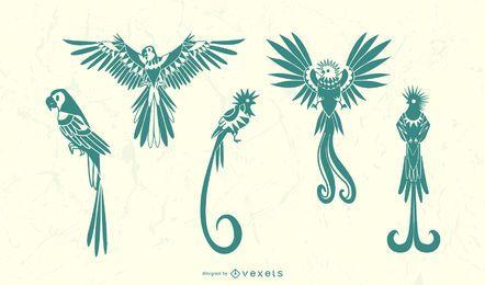 Conjunto de silhueta de pássaro elegante